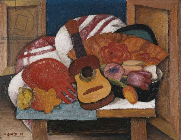 Study for The Spanish Fan, 1938 (oil on paper laid down on board)