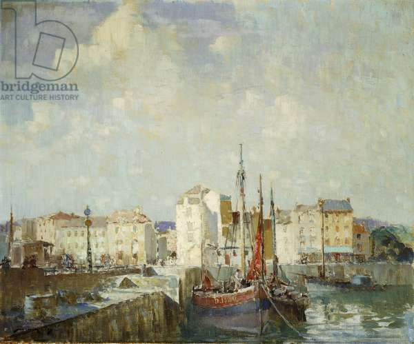 The Inner Harbour, Dieppe, (oil on canvas)