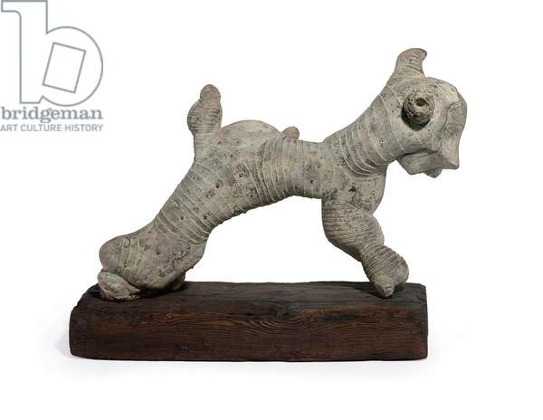 Dog; Chien, 1981 (bronze with gray, pink and green patina on a wooden base)