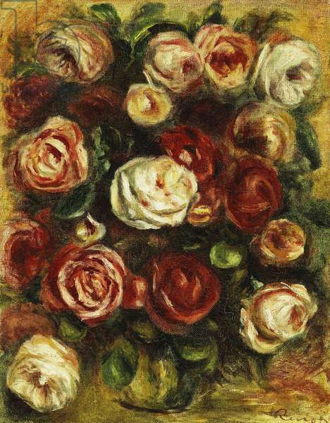 Vase of Roses,  (oil on canvas)