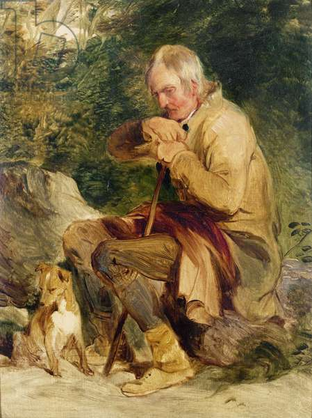 An old man and his dog seated by a road side