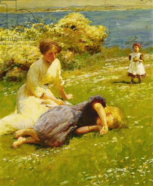 Young Girls on a Cliff Top, (oil on canvas)