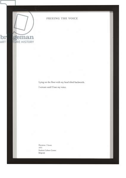 Freeing the Voice, from 'The Complete Performances 1973-1975', performed 1975, published 1994 (letterpress)