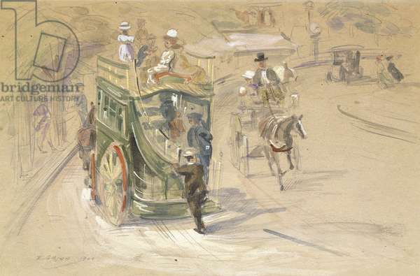 In Central Park, 1904 (watercolour, gouache and pencil on cardboard)