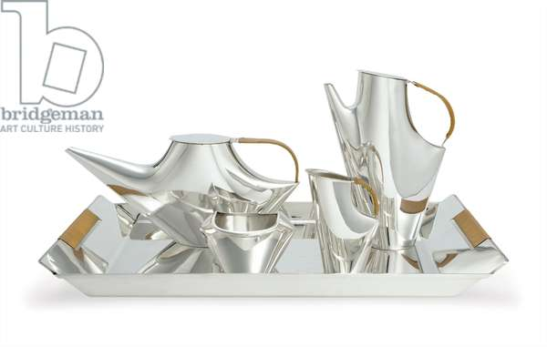 Como four-piece coffee and tea service with tray, 1956 (silver-plated metal with caned handles)