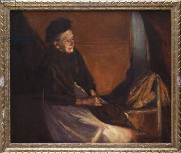 Old Woman with Bellows by a Fire (oil on canvas)