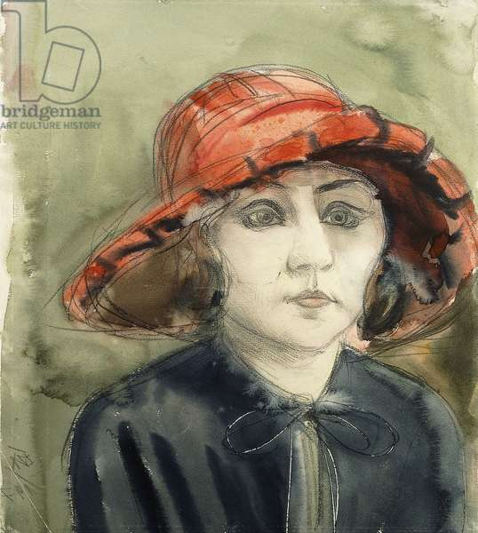 Mutzli - Young lady in a Red Hat: Mrs Martha Dix; Mutzli - Junge Dame in rotem Hut: Frau Martha Dix, 1922 (watercolour on vellum)