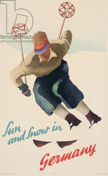 Sun and Snow in Germany, c.1930 (colour litho)