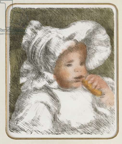 Child with a biscuit, c.1888-89 (colour litho)