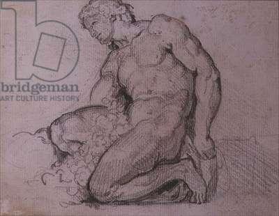 Seated figure (pencil & brown ink)