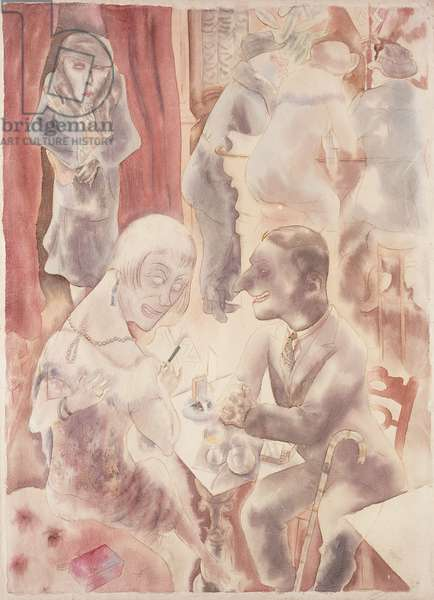 Conversation; Plauderei, 1925 (pen and ink and watercolour on paper)