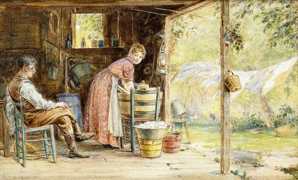 Wash Day, 1890 (watercolour and pencil on paper)