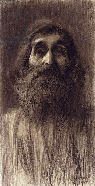 Portrait of a Bearded Man; Brustbild eines Bartigan Mammes von vorne, c.1894 (black chalk, pen and black ink on paper)