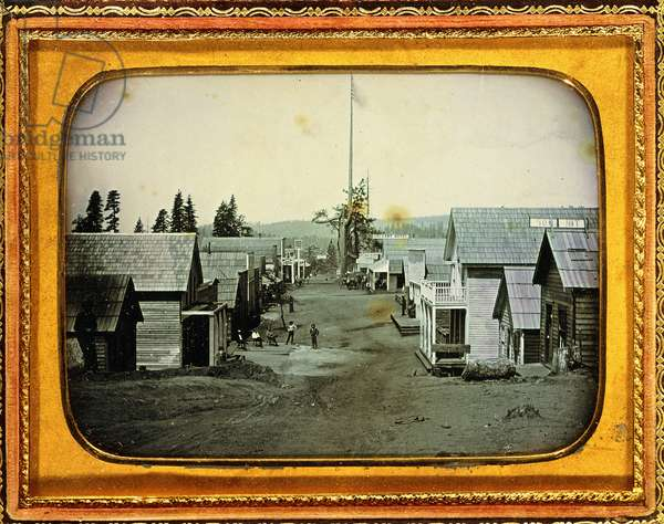 California Gold Mining Town, c.1852 (half-plate daguerreotype, embossed leather case)