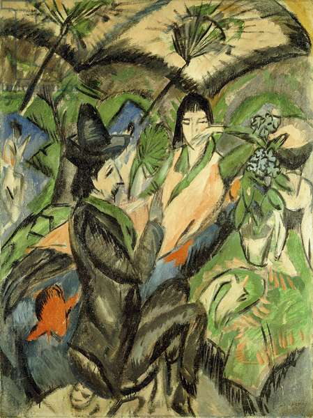 Couple under Japanese Parasols; Paar Unter der Japanschirm, 1902 (oil on canvas)