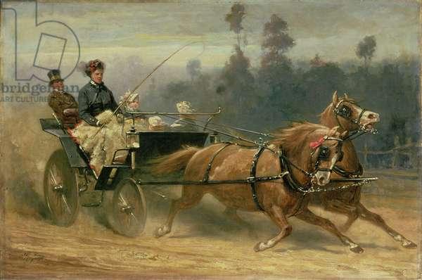Madame Celestine Nichols Driving in Richmond Park with Her Grandchildren, 1879 (oil on canvas)
