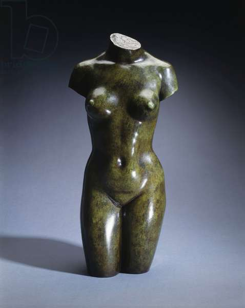 Torso of a Young Woman,  (bronze with green patina)