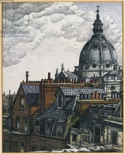The Dome, Brompton Oratory, 1936 (w/c, pen & black ink on paper)