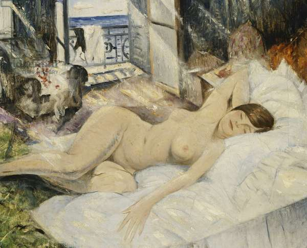 Nude on a Bed, South of France, (oil on canvas)