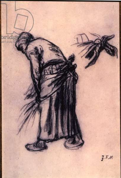 Study of a gleaner (crayon on paper)