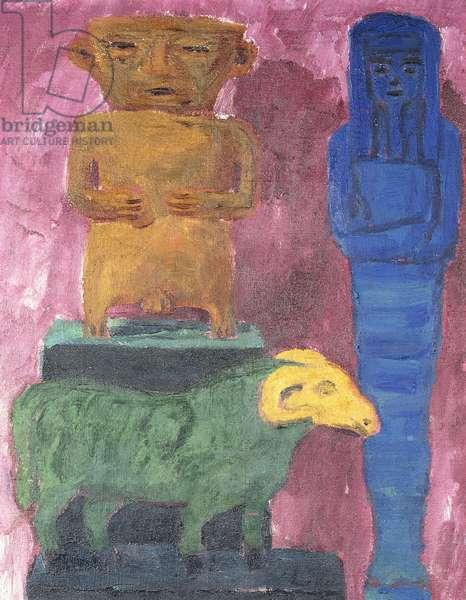 Sheep and Figures; Schaf und Figuren, 1912 (oil on canvas)