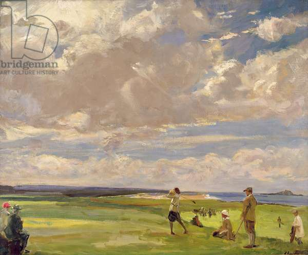 Lady Astor playing golf at North Berwick (oil on canvas)