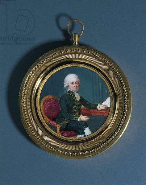 Portrait Miniature of a Gentleman, seated three-quarters length (gilt-bronze frame)