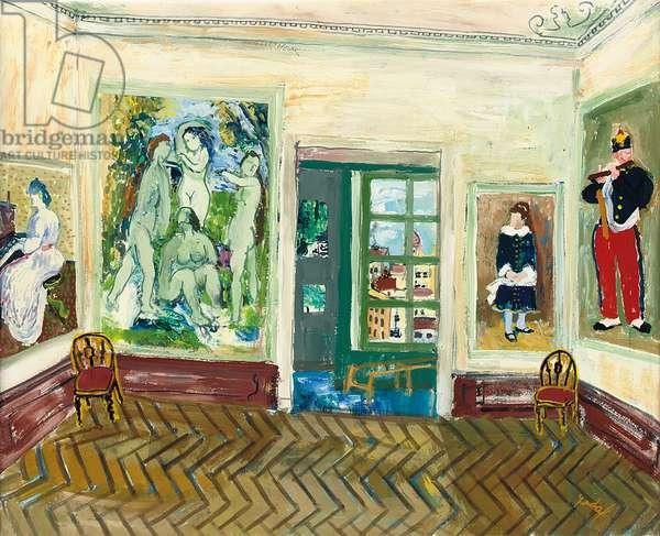 Chez l'Amateur d'Art, 1969 (oil on paper laid down on canvas)