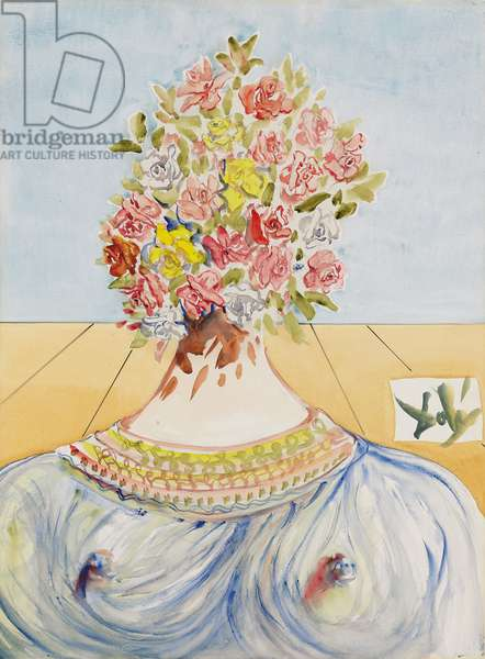 The Flowering of Inspiration or Gala en fleurs, 1978 (watercolour over pencil on paper)