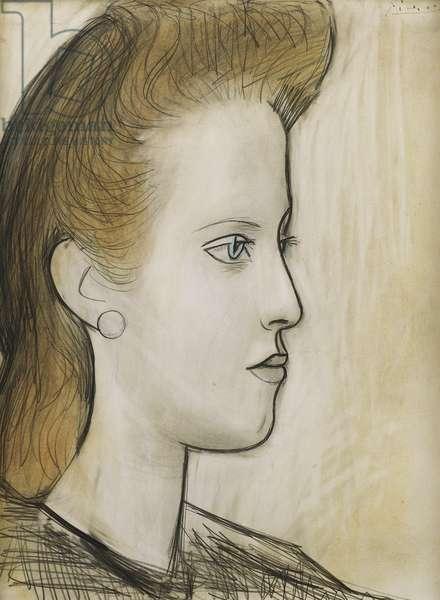 Female Head (Portrait of Miss Aubrey); Tete de Femme (Portrait de Mlle Aubrey), 1941 (pastel and pencil on paper)