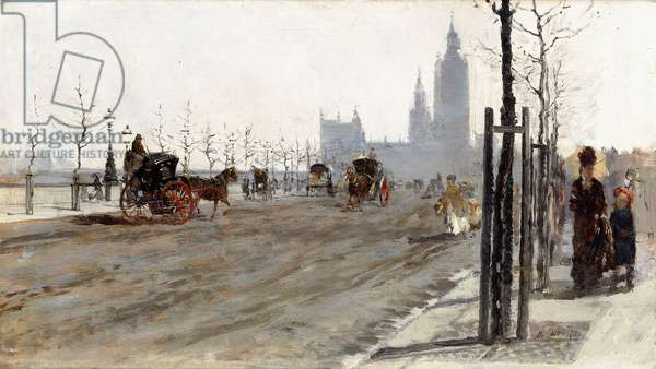 The Victoria Embankment, London, 1875 (oil on panel)