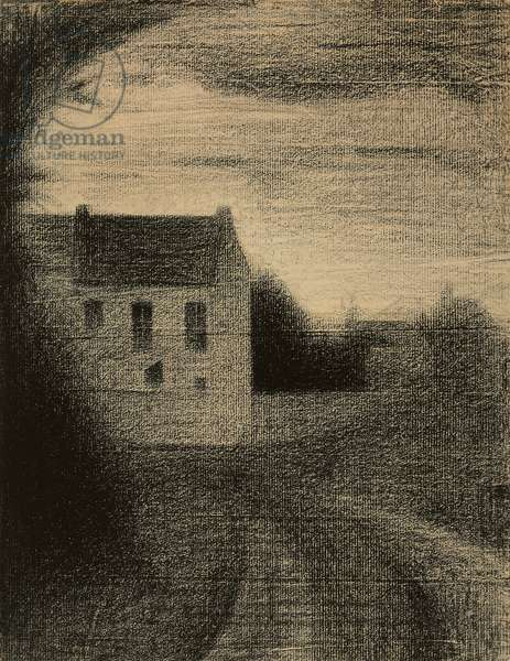 Square House; Maison carree, c.1882-1884 (crayon on paper laid down on board)