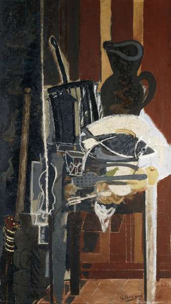 The Table in the Kitchen with Grill; La Table de Cuisine au Gril, 1943-44 (oil and sand on canvas)