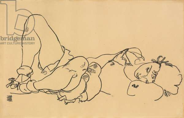 Reclining Woman; Liegende, 1918 (black crayon on paper)