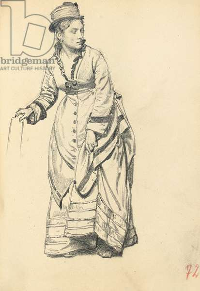 Standing Woman Holding Her Dress, c. 1872-1875 (pencil on paper)