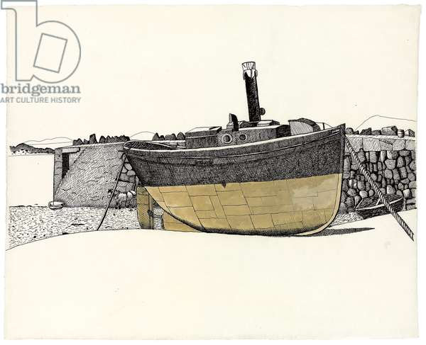 Boat, Connemara, 1948 (ink and tempera on paper)