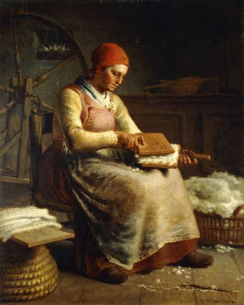 Woman Carding Wool,  (oil on canvas)