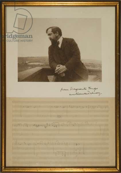 Manuscript page of music for 'King Lear', with a portrait inscribed by Emma Debussy, December 1904 (pencil on paper & b/w photo)