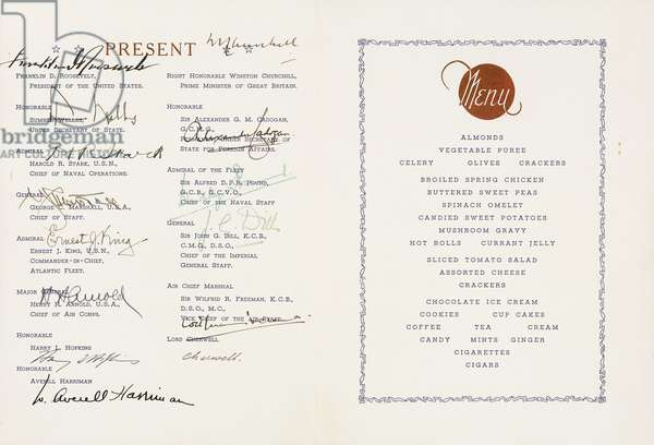 Printed menu signed by Winston Churchill and Franklin D. Roosvelt, U.S Flagship Augusta, Ship's Harbour, Newfoundland, dated 9 August 1943. The First official meeting of Churchill and Roosvelt which produced the Atlantic Charter, the prelude to the U.S engagement in World War II., 1943 (blue and gilt print on cream paper, ink)