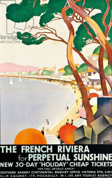 The French Riviera for Perpetual Sunshine, 1930 (colour lithograph)