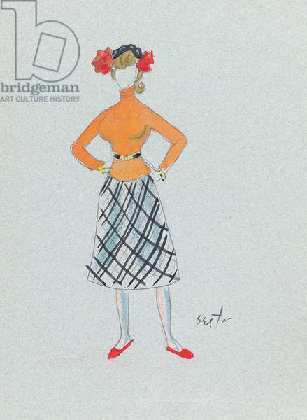 Costume design for Katherine Hepburn as Coco Chanel in 'Coco', 1969 (pencil, w/c & bodycolour on paper)