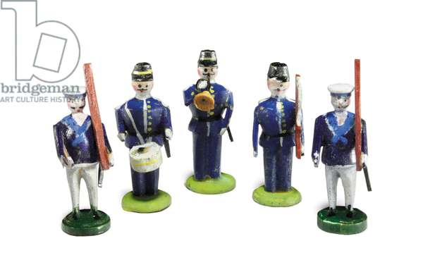 A group of five hand-carved and hand-painted toy soldiers owned by Tad Lincoln (painted wood)