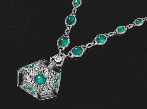 Art Deco necklace, c.1925 (emeralds, diamonds & rock crystal)