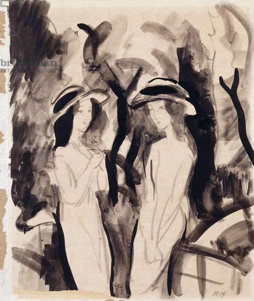 Two Girls; Zwei Madchen, 1914 (brush with black ink and charcoal on thin buff paper laid down o)