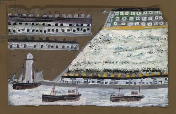 Ships and lighthouse, houses (pencil & oil on paper)