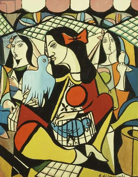 Three Girls; Tres Mocas, 1949 (gouache on paper)