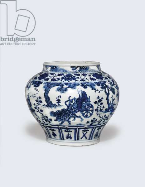 An exceptionally rare and important blue and white jar, Guan, 14th century (ceramic)