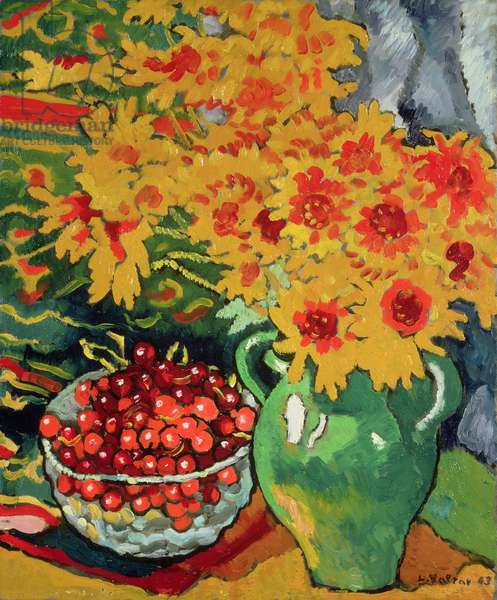Yellow Flowers and a Bowl of Cherries, 1943 (oil on canvas)