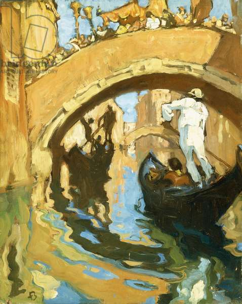 A Side Canal, Venice (oil on panel)