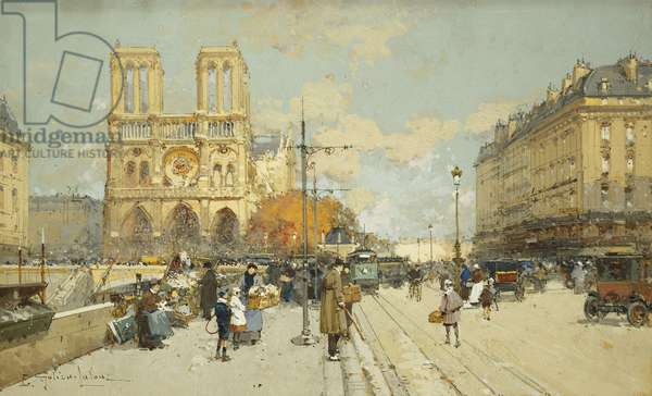 Figures on a Sunny Parisian Street, Notre Dame at left,  (gouache and black chalk)